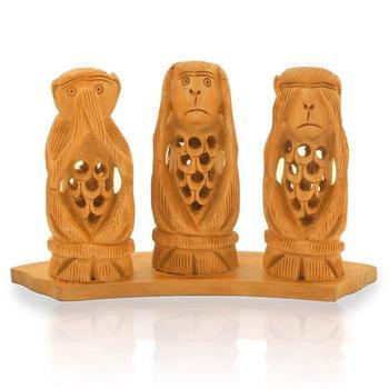 Gandhi Monkey Set Fine Carved Wood Handicraft