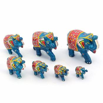 Handmade Paper Mache Work 7 Piece Elephant Set