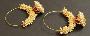 Beautiful Handmade Gold Plated Kemp Hoop Jhumka