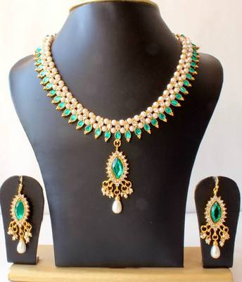 BEAUTIFUL GOLD TONE PEARL GREEN NECKLACE SET