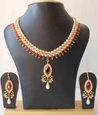 BEAUTIFUL MAROON PEARL NECKLACE SET