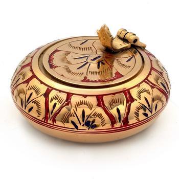 Pure Brass Meenakari Work Ash Tray Handicraft