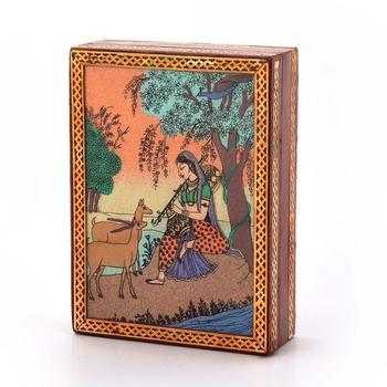 Gemstone Meera Painting Wooden Jewelry Box