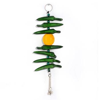 Lemon Green Chilly Wall Hanging in White Metal