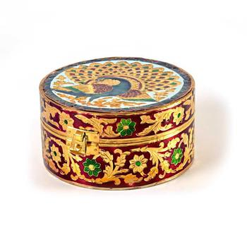 Meenakari Art White Metal Round Dry fruit Box