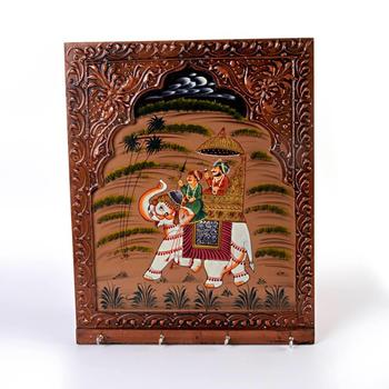 Wooden Carved and Hand Painted Four Key Stand