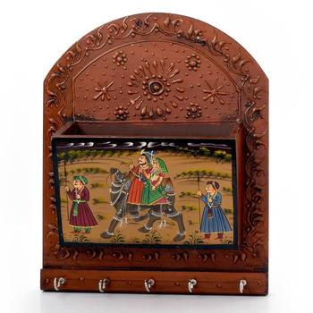 Wooden Hand Painted Magazine and 5 Key Holder