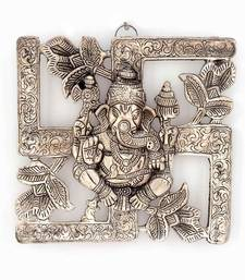 Buy Antique White Metal Swastik Ganesha Hanging home-decor online