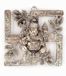 Buy Antique White Metal Swastik Ganesha Hanging religious-item online
