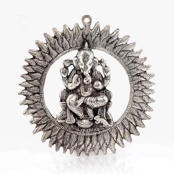 Unique White Metal Chakra Ganesha Idol Hanging
