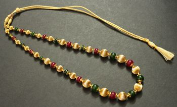 Beautiful Handmade Red Green Beaded Necklace