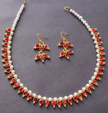 Beautiful Red Pearl Gold Tone Elegant Necklace and Earrings