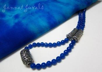 Bright Blue and Silver combo necklace