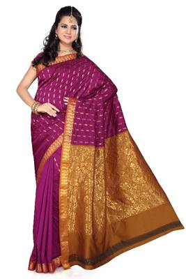ISHIN Poly Cotton Magenta Golden Saree-STCS-06