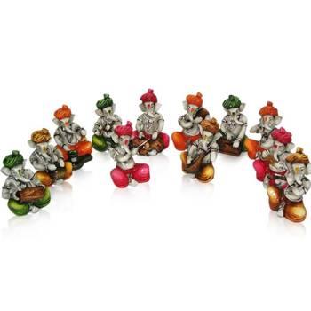 Set of 12 Instrumental Colorful Ganesha's