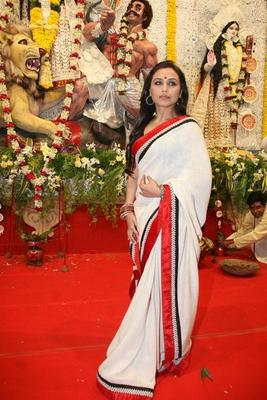 White Rani saree