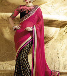 Buy Red  and  Black embroidered georgette saree with blouse wedding-saree online