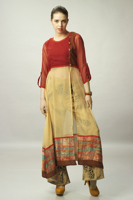 Beige and Red Chiffon top With Beige Printed Pant