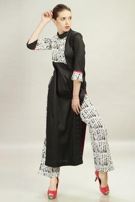 Black Cotton Satin top With White Block Printed Pant