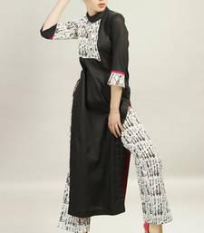 Black Cotton Satin top With White Block Printed Pant