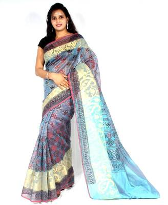Supernet fancy printed pallu Zari Border saree