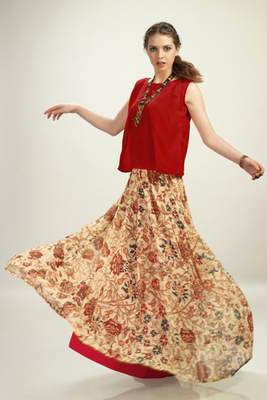 Red Chiffon top With Georgette Skirt