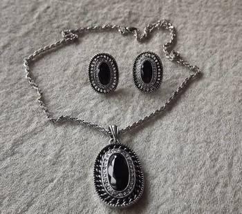 Antique Silver Oxydized Pendant Set