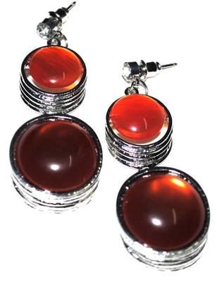 Amber silver earrings