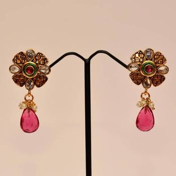 Anvi's Floral design earrings with uncut stones with pink droplet