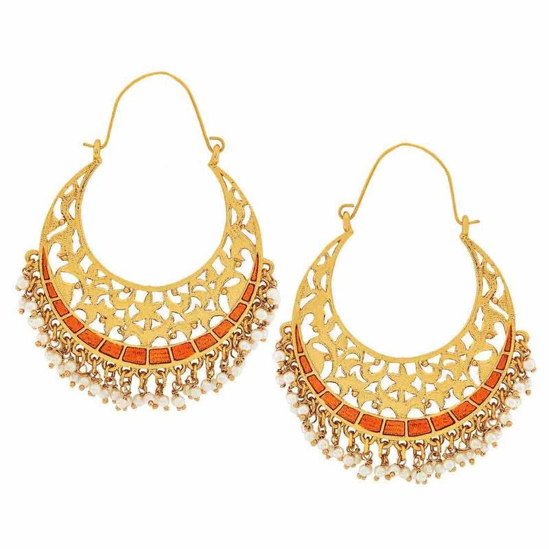 Indian Antique Jewelry Artistic Filigree Hoop Earrings Orange ...