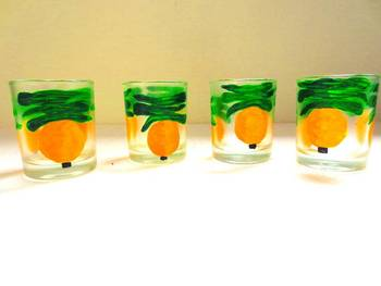 Down it!!-Hand-painted shot glasses-Nimbu Mirchi