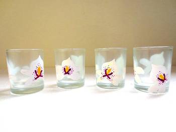 Down it!!-Hand-painted shot glasses-White Orchids