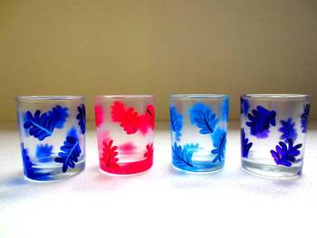 Down it!!-Hand-painted shot glasses-Leaves