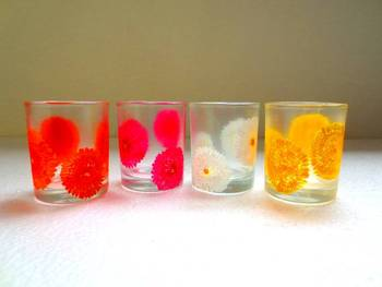 Down it!!-Hand-painted shot glasses-Flowers