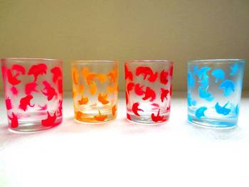 Down it!!-Hand-painted shot glasses-Pretty petals