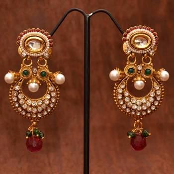 Anvi's Gorgeous polki ear danglers