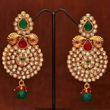 Anvi's Ethnic bridal earrings with cluster of white stones