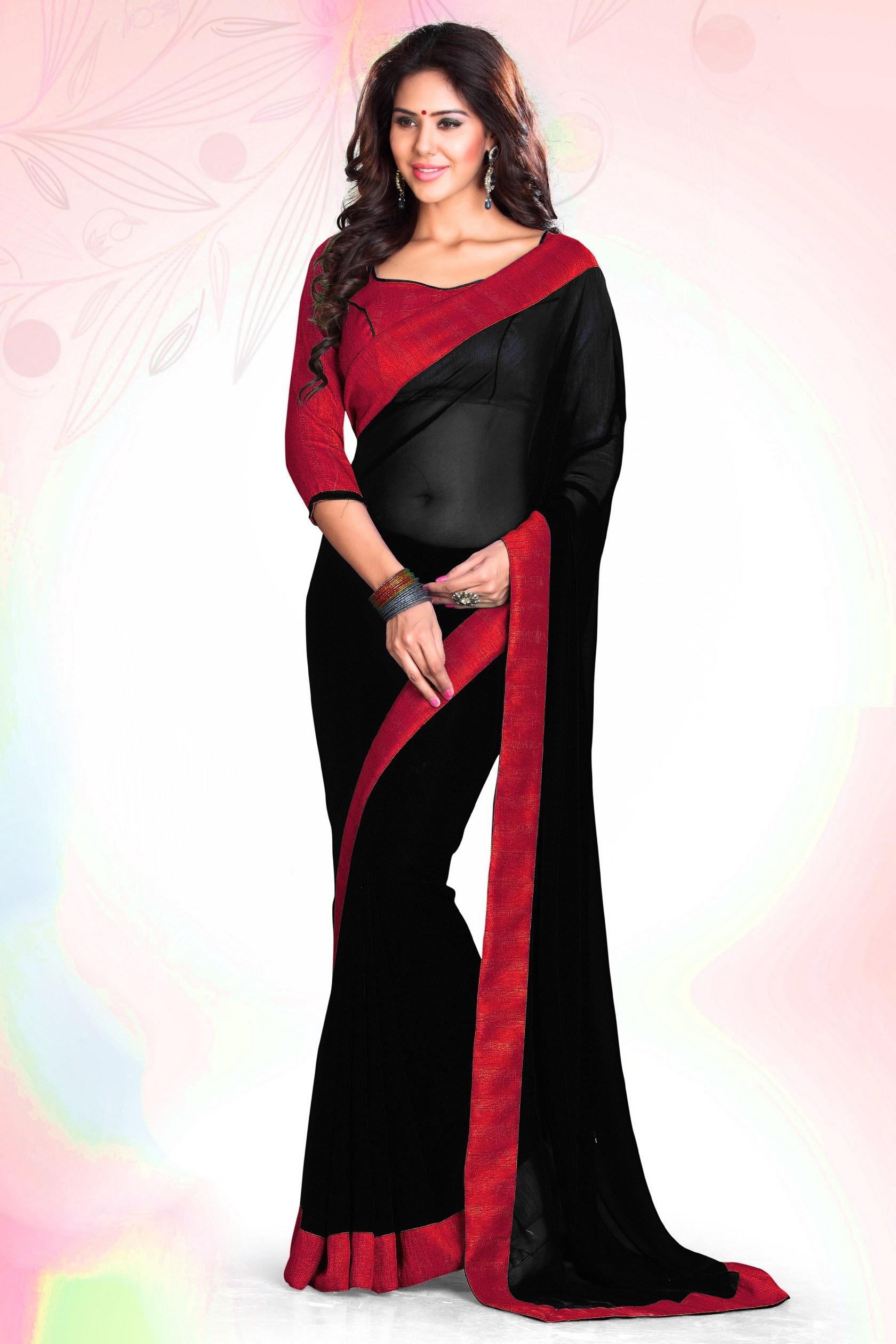 23eae49168f7e black and red plain georgette saree with blouse - Manjula Feb - 585265