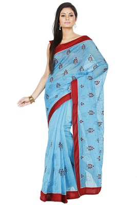 Sky Blue embroidered Supernet saree with blouse