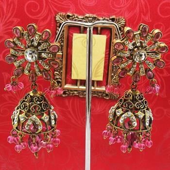 Victorian Floral Pendant Tokri Jhumki Tingy Pink