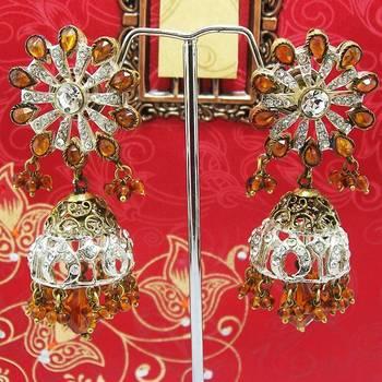 Victorian Floral Pendant Tokri Jhumki Copper Yellow