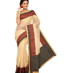 Buy Beige Printed supernet saree with blouse supernet-saree online