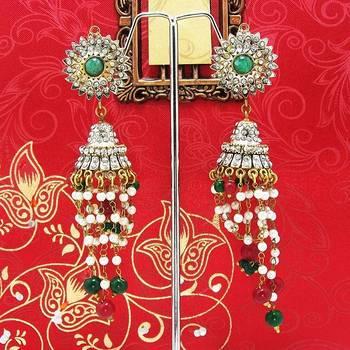 Victorian Pendant Tokri Jhumki Green Maroon