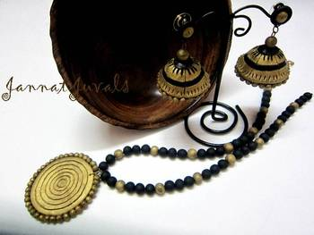 Black and Antique Gold necklace with Jhumka
