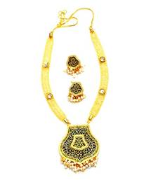 Buy Designer kundan and pearl thewa set with attached cz sparkling necklace necklace-set online