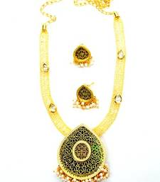 Designer kundan and pearl thewa set with attached cz sparkling necklace