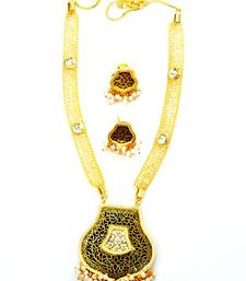 Designer kundan and pearl thewa set with attached cz sparkling necklace necklace-set