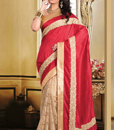 Buy maroon  and  cream plain tissue saree with blouse tussar-silk-saree online