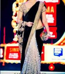 Buy white and black embroidered velvet saree with blouse other-actress-saree online
