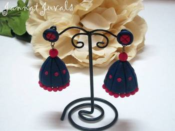 Navy Blue and Magenta Jhumka